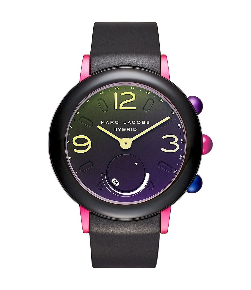 Marc Jacobs Riley Pink IP Stainless Steel and Black Rubber Hybrid Smartwatch