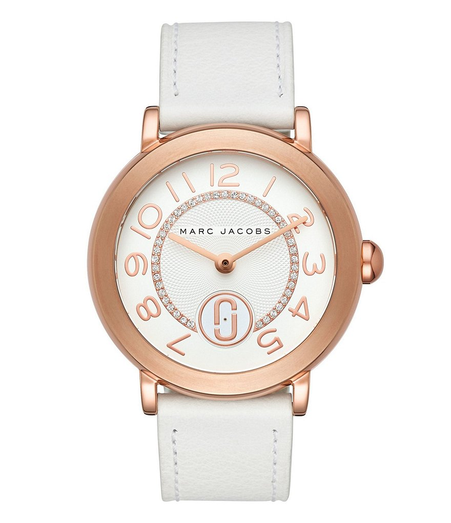 Marc Jacobs Riley Rose Gold-Tone and White Leather Watch