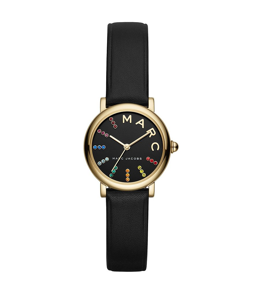 Marc Jacobs Roxy Black Leather Analog Watch