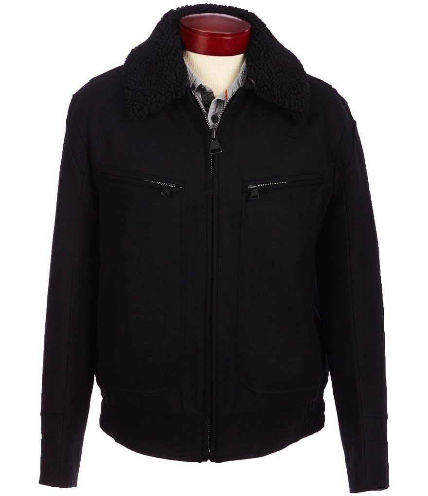 Marc New York Andrew Marc Concord Pressed Wool Bomber Jacket