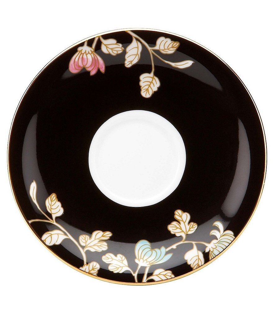 Marchesa by Lenox Painted Camellia Vintage Floral Bone China Espresso Saucer