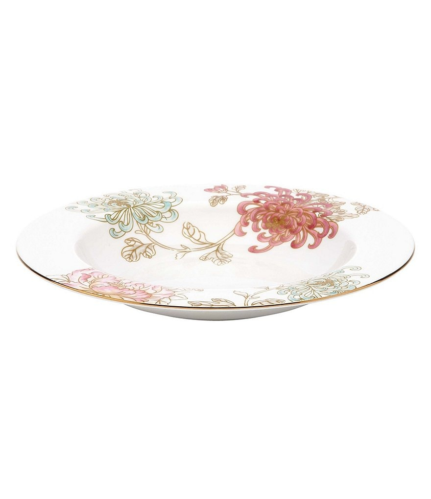Marchesa by Lenox Painted Camellia Vintage Floral Bone China Rimmed Soup Bowl