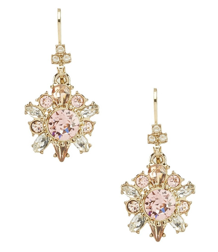 Marchesa Vintage Rose Swarovski Drop Statement Earrings