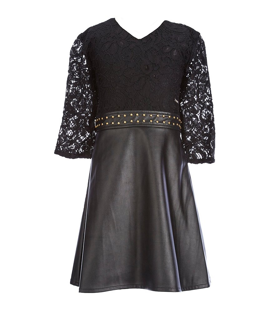Marciano Big Girls 7-16 V-Neck Lace Studded Dress
