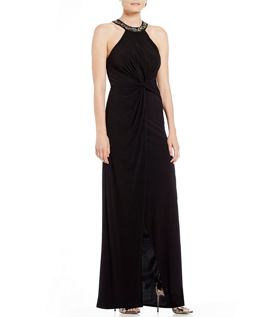 Marina Bead-Neck Ruched Gown