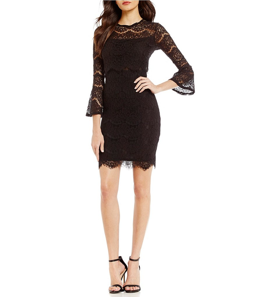 Marina Bell-Sleeve Illusion Sheath Dress