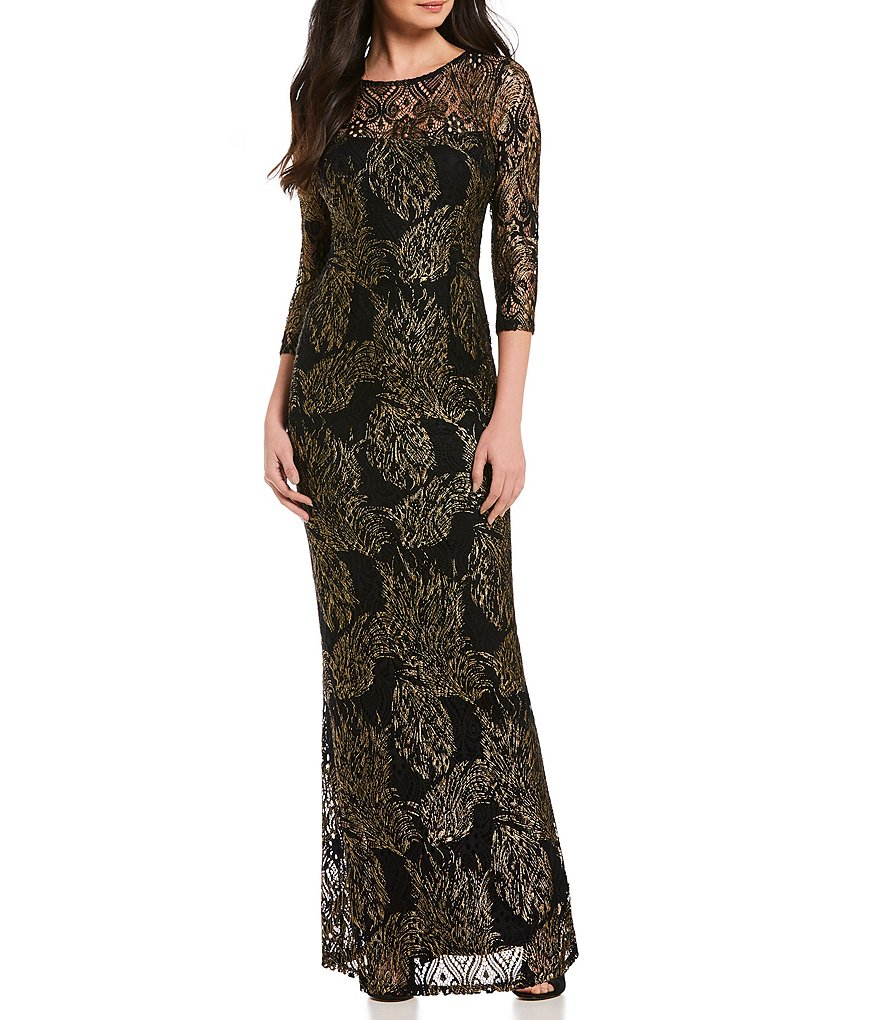 Marina Foil Lace Keyhole-Back Gown