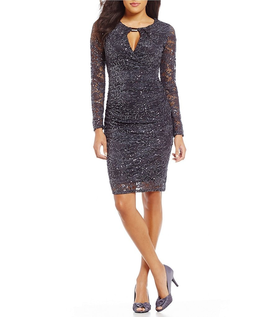Marina Keyhole-Neck Sequin Lace Dress
