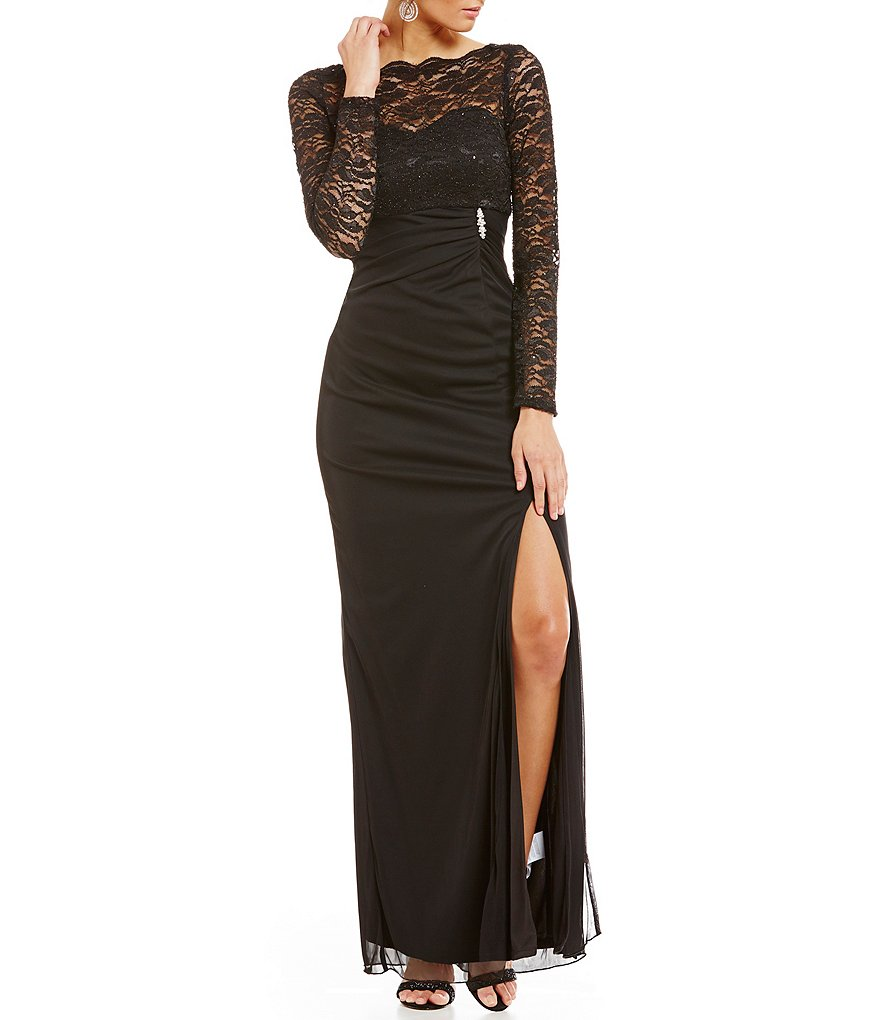 Marina Long-Sleeve Lace Matte Jersey Gown