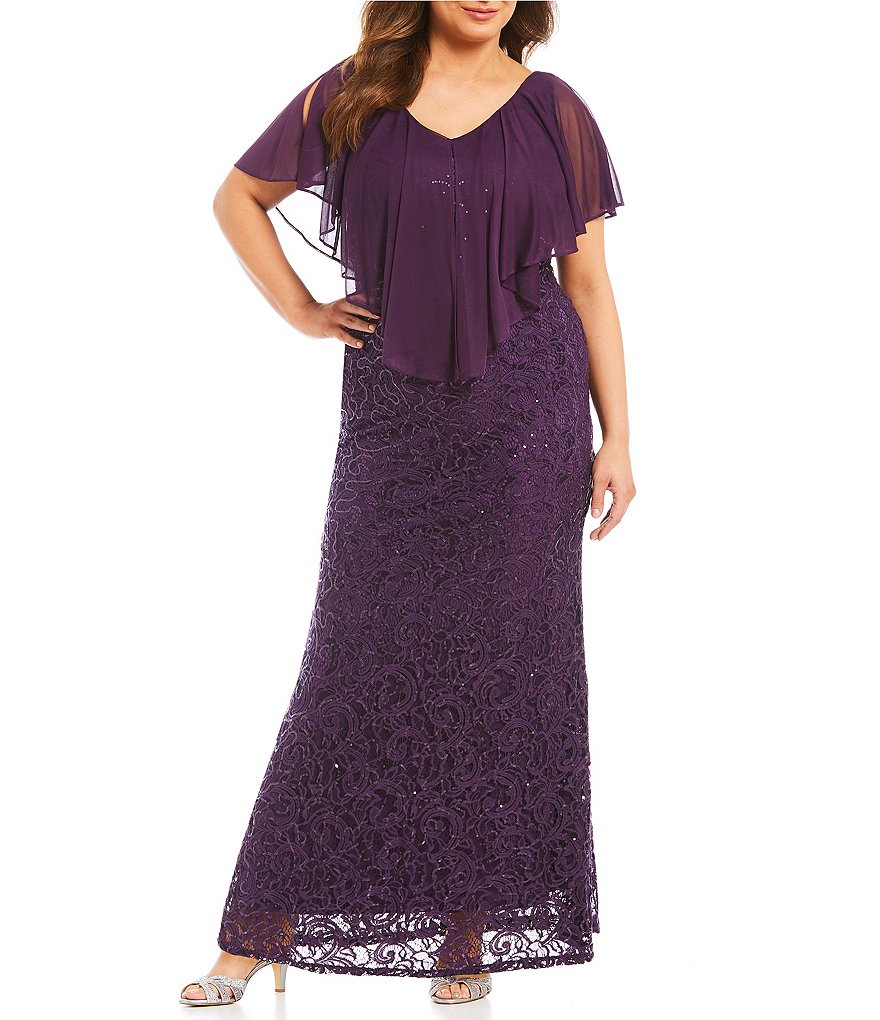 Marina Plus Chiffon Popover Lace Gown