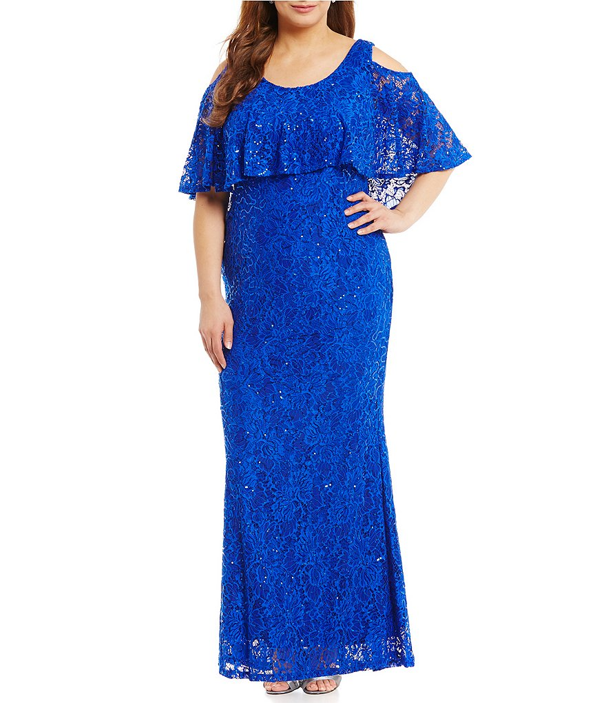 Marina Plus Cold-Shoulder Popover Lace Gown