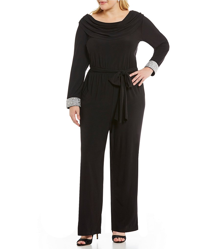 Marina Plus Cowl-Neck Beaded Jumpsuit