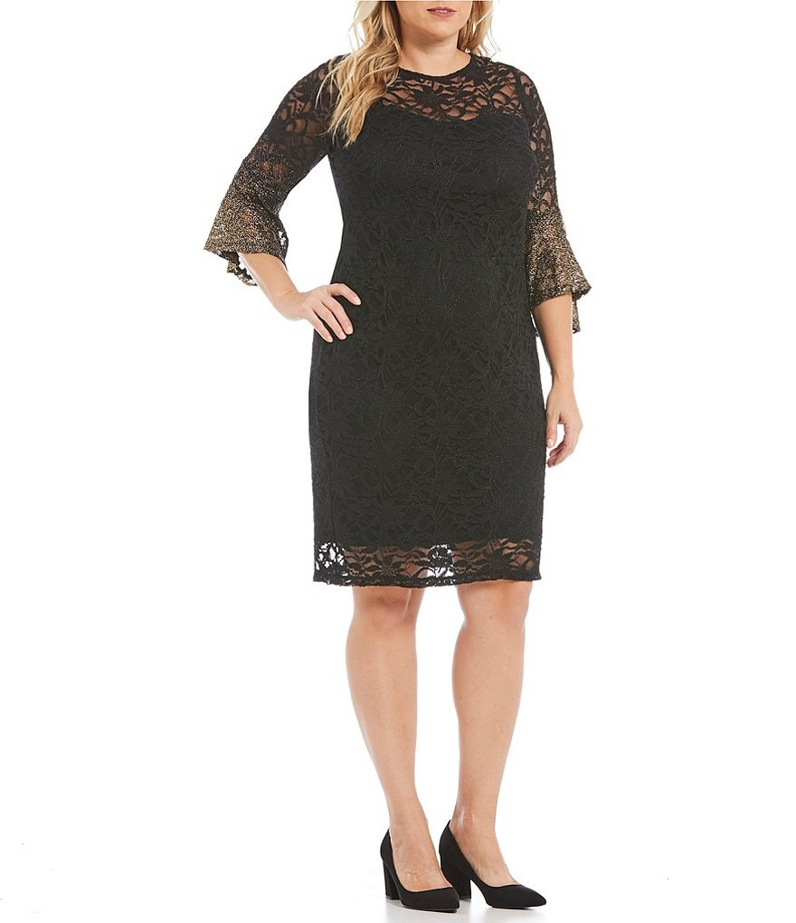 Marina Plus Foiled Ombre Bell-Sleeve Lace Dress