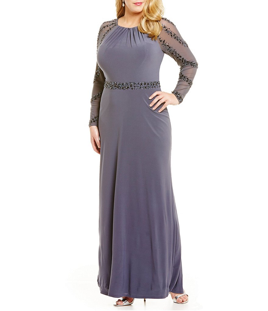 Marina Plus Illusion Beaded Long-Sleeve Gown