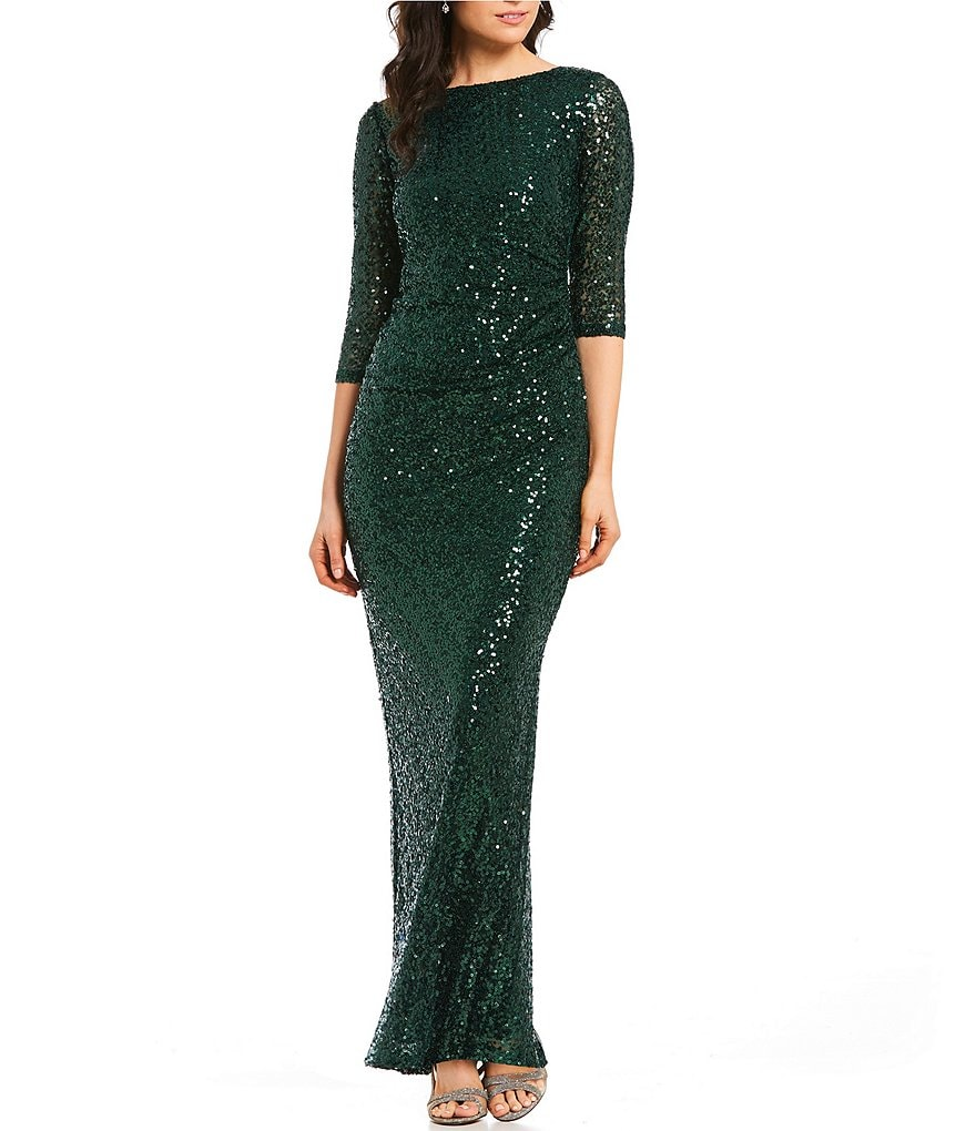 Marina Sequined Cowl-Back Column Gown