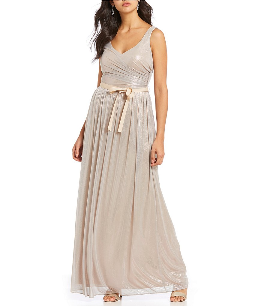 Marina Sleeveless Foiled Gown