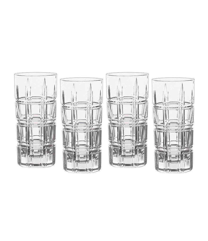 Marquis by Waterford Crosby Geometric-Cut Crystal Highball Glasses, Set of 4