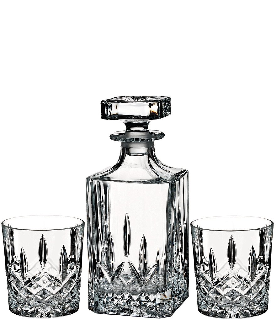 Marquis By Waterford Markham Crystalline Square Decanter Double Old Fashioned Bar Set