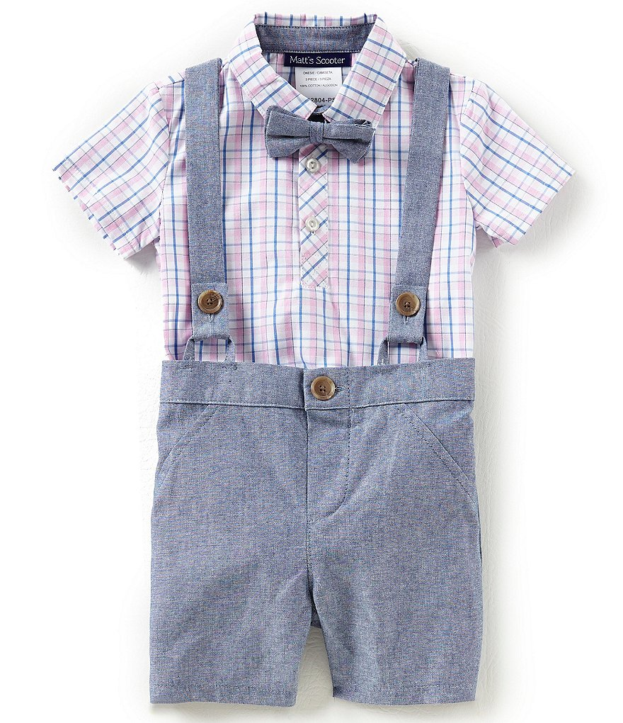 Matt's Scooter Baby Boys 12-24 Months Plaid Bodysuit, Chambray Shorts & Bow Tie Set