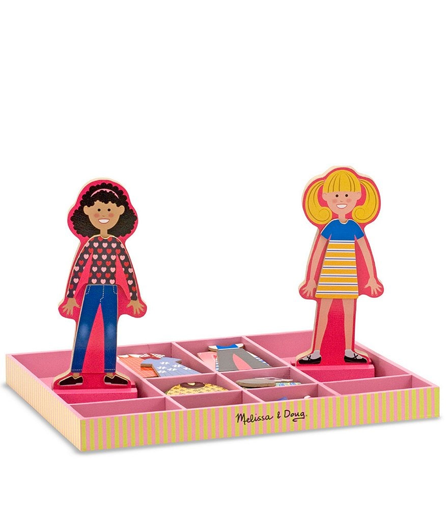 Melissa & Doug Abby & Emma Magnetic Wooden Dress-Up Doll Set