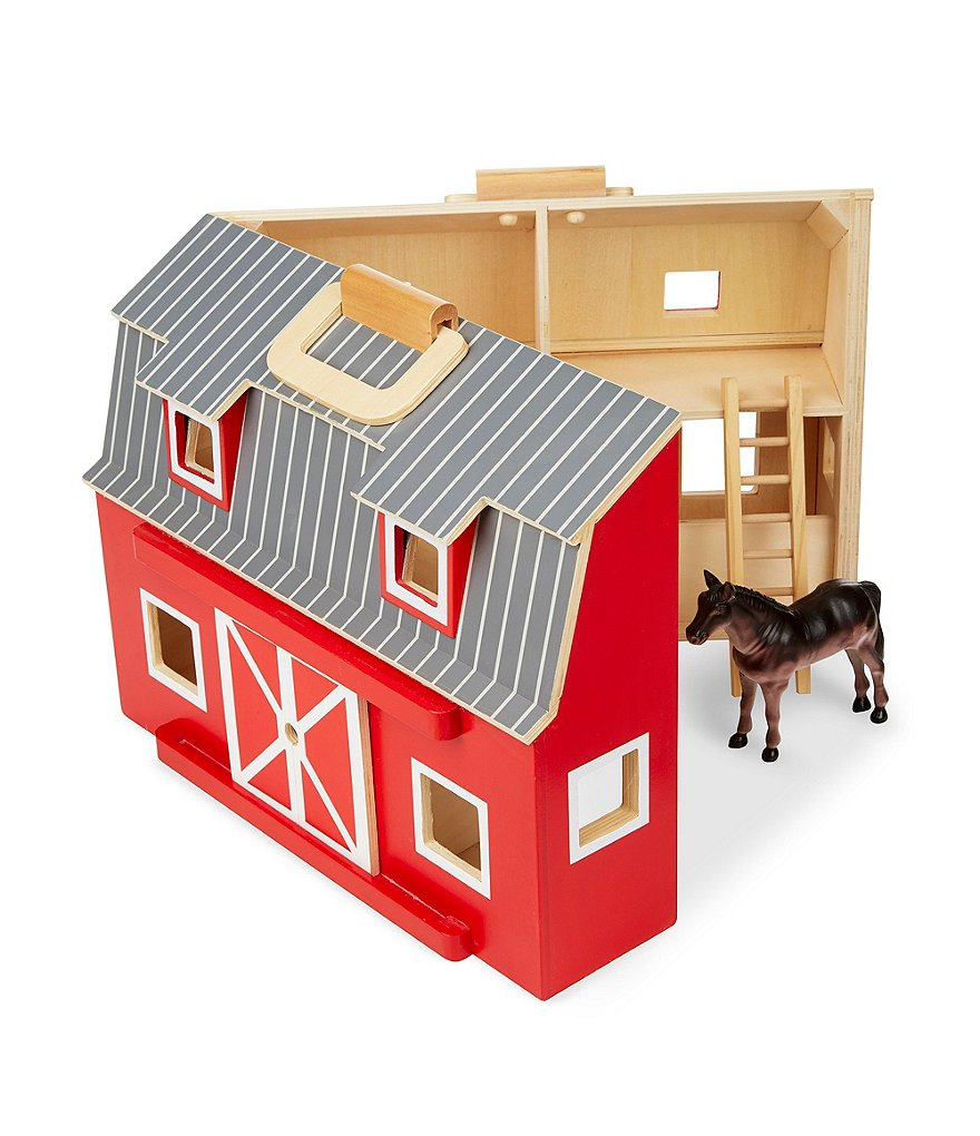 Melissa & Doug Wooden Fold & Go Barn Playset