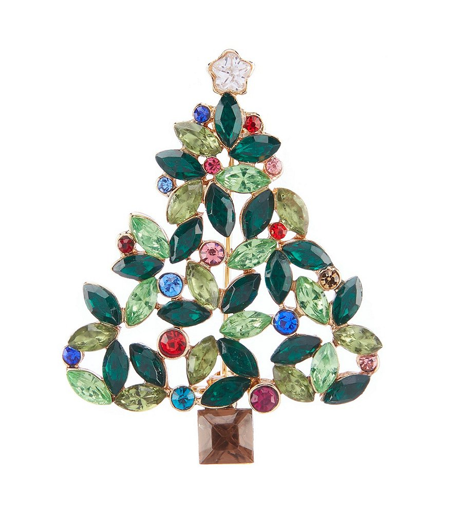 Merry & Bright Crystal Tree Pin