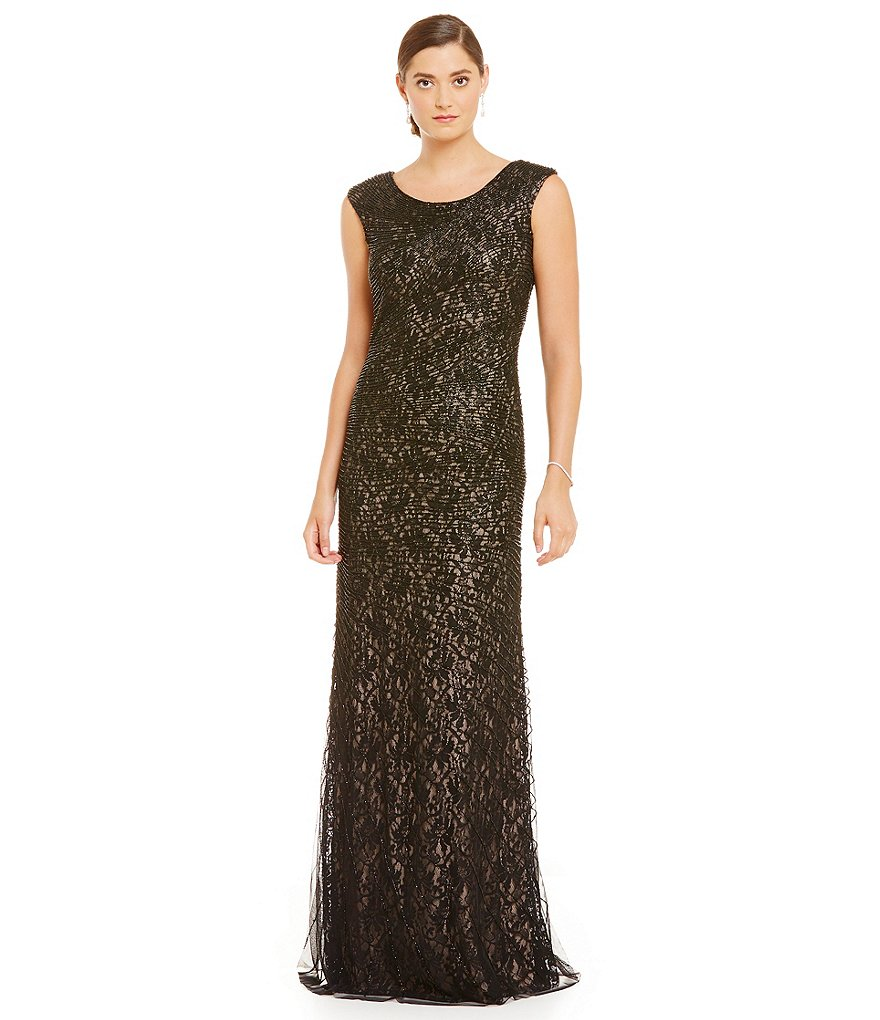 MGNY Madeline Gardner New York Caviar Beaded Cap Sleeve Gown