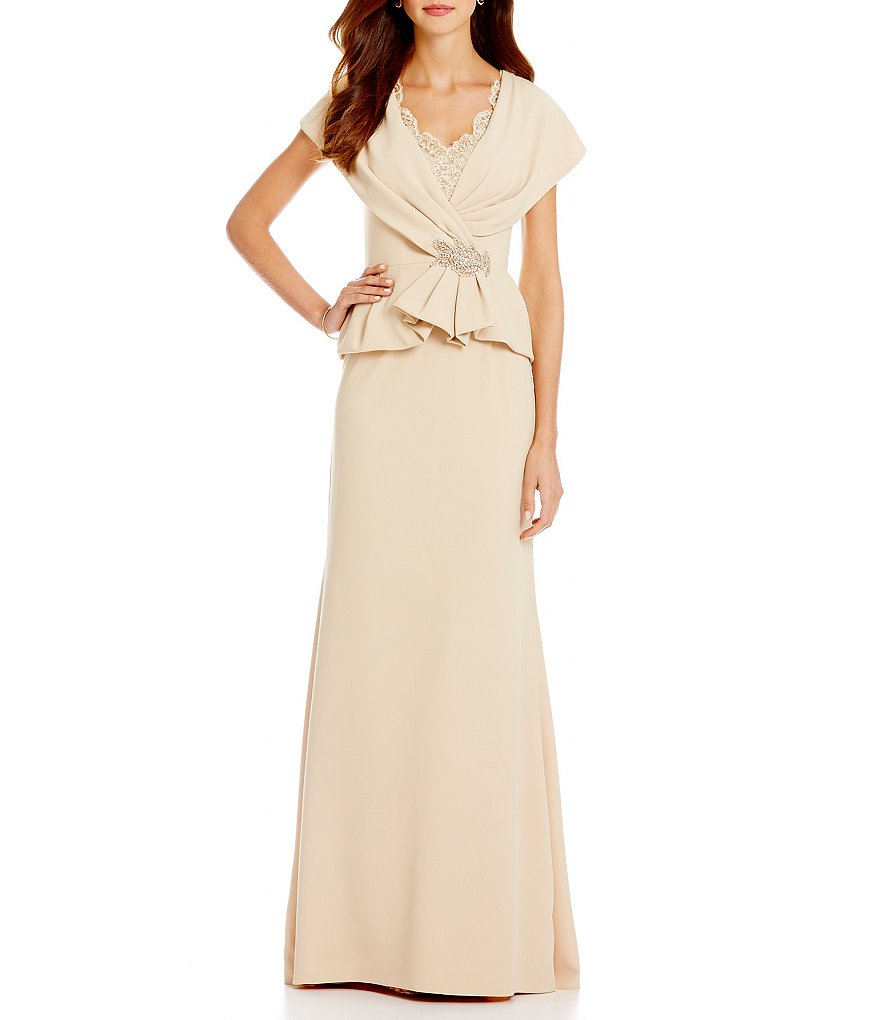 MGNY Madeline Gardner New York Mock Two-Piece Off-the-Shoulder Gown