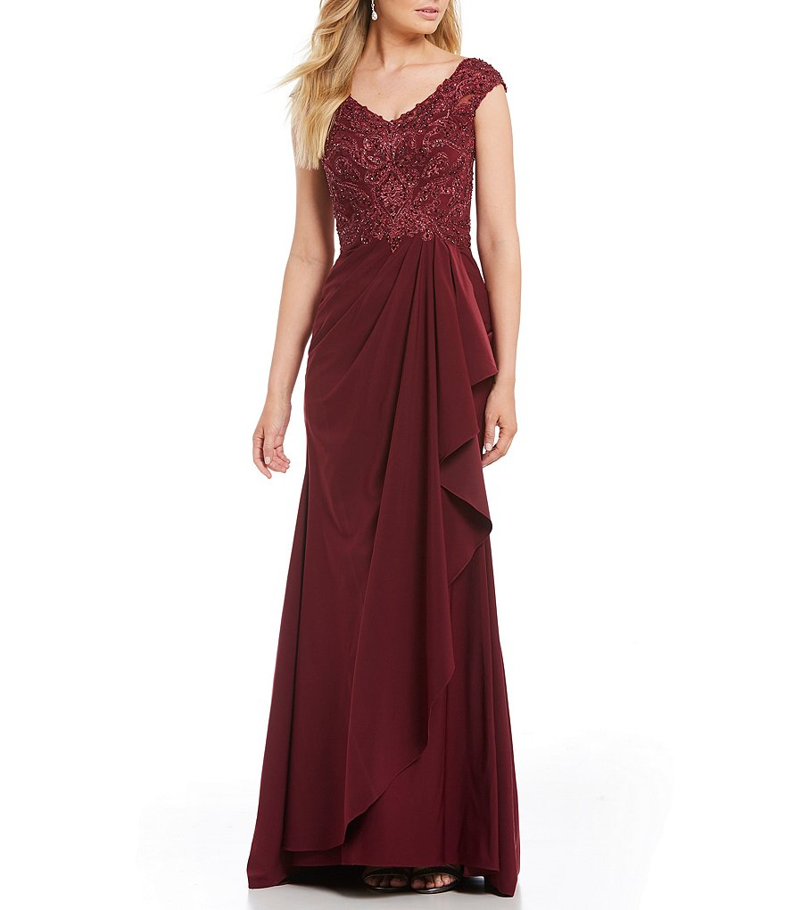 MGNY Madeline Gardner New York V-Neck Beaded Bodice Gown
