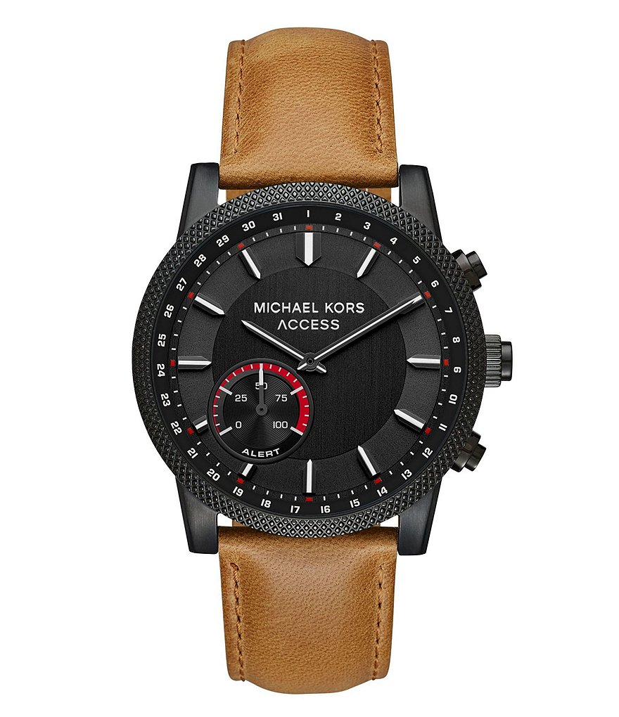 Michael Kors Access Men's Scout Black IP and Brown Leather Hybrid Smartwatch