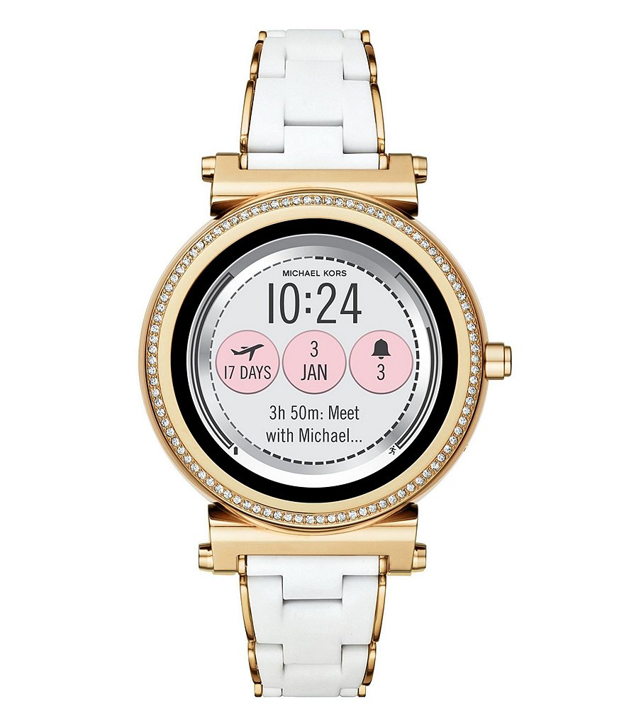 Michael Kors Access Sofie Gold-Tone and White Silicone Touchscreen Smartwatch