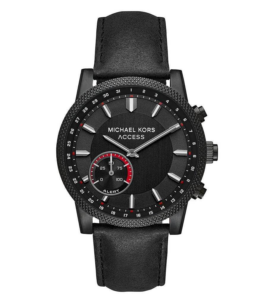 Michael Kors Acess Men's Scout Black IP and Black Leather Hybrid Smartwatch