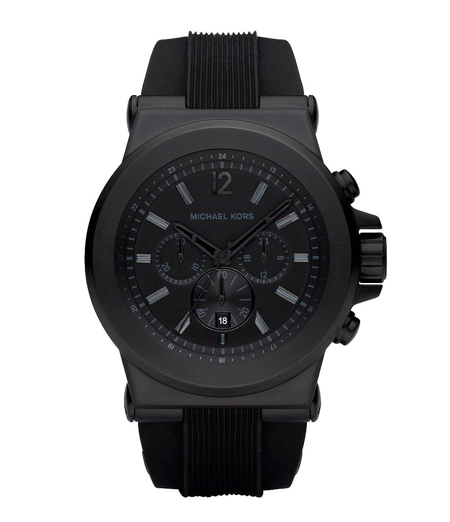 Michael Kors Black Silicone Strap Stainless Steel 3 Hand Chronograph Sport Watch