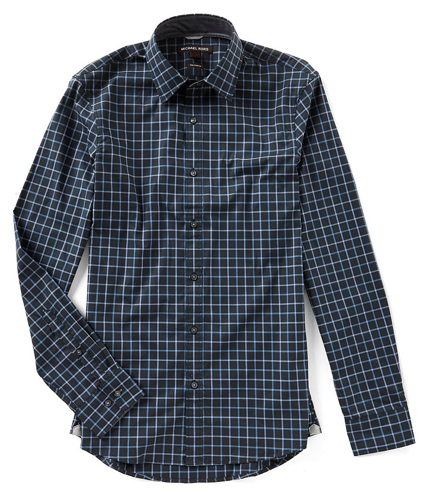 Michael Kors Brann Check Long-Sleeve Woven Shirt