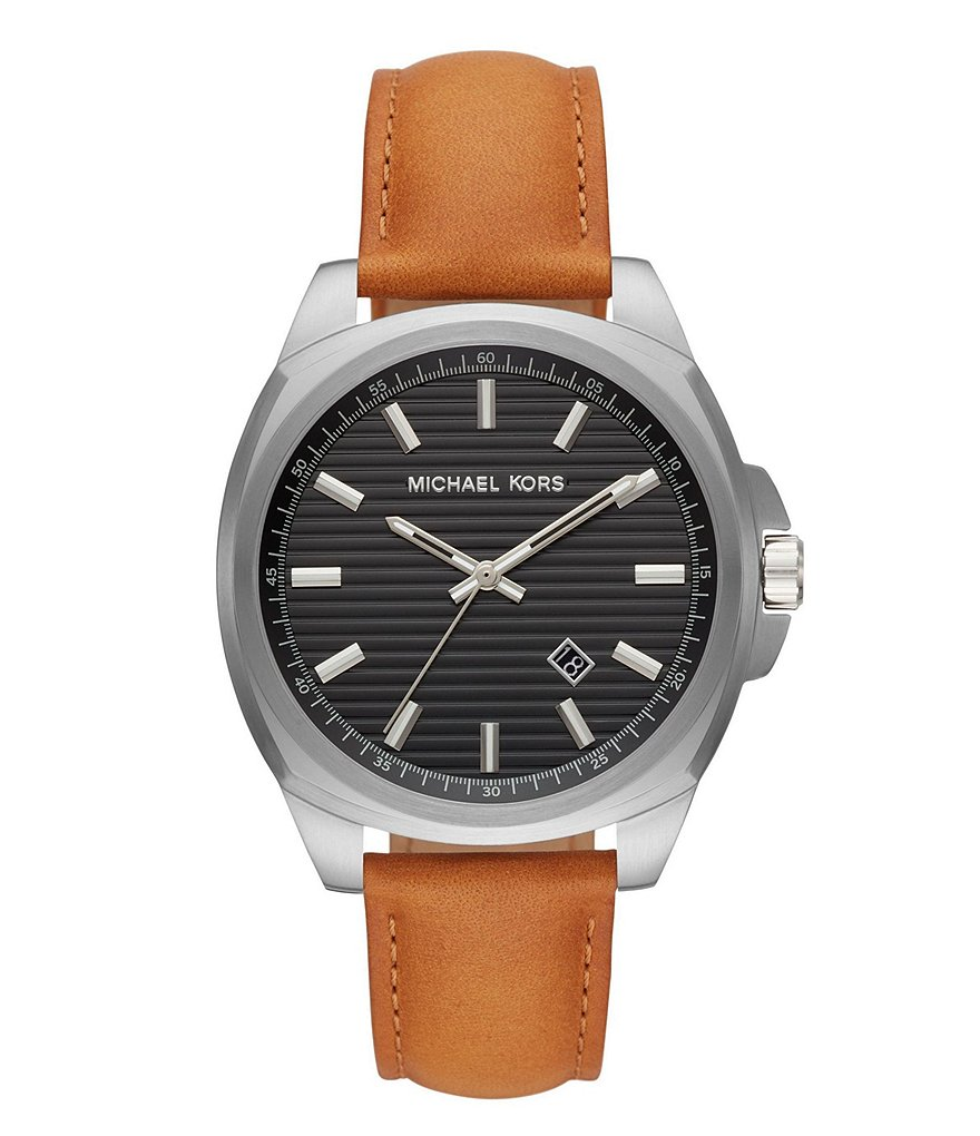 Michael Kors Bryson Three-Hand Brown Leather Watch