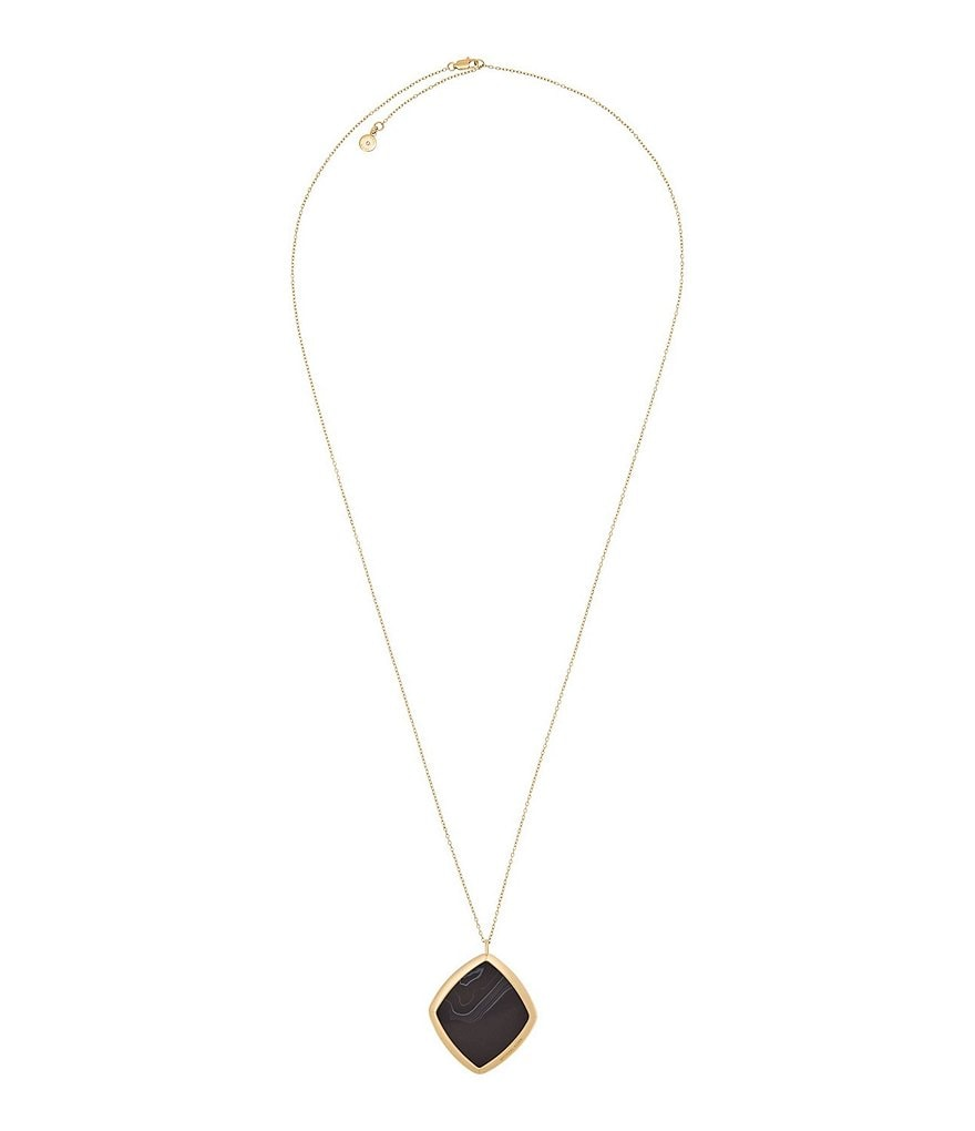 Michael Kors Cool & Classic Gold-Tone and Black Agate Necklace