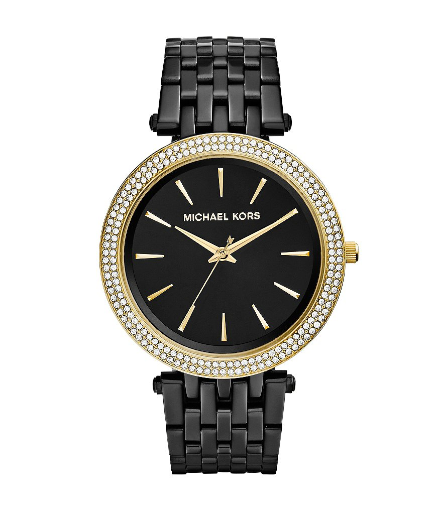Michael Kors Darci Black IP Gold Crystal Bezel Watch