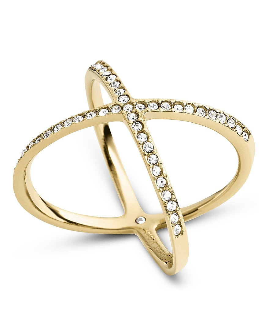Michael Kors Delicate Stainless Steel and Pavé X Ring