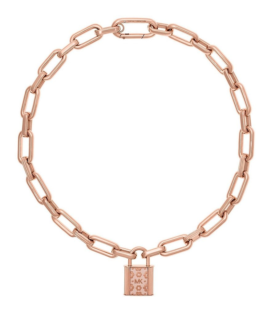 Michael Kors Flower Power Rose Gold Tone Link Necklace