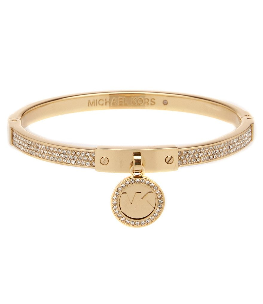 Michael Kors Fulton Pavé and Cubic Zirconia Bangle Bracelet with Logo Charm