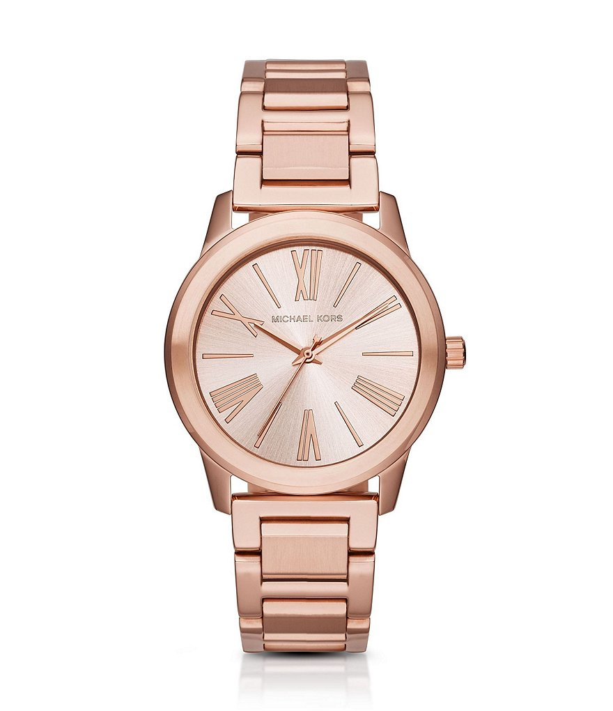Michael Kors Hartman Rose Gold Tone Stainless Steel 3 Hand Bracelet Watch