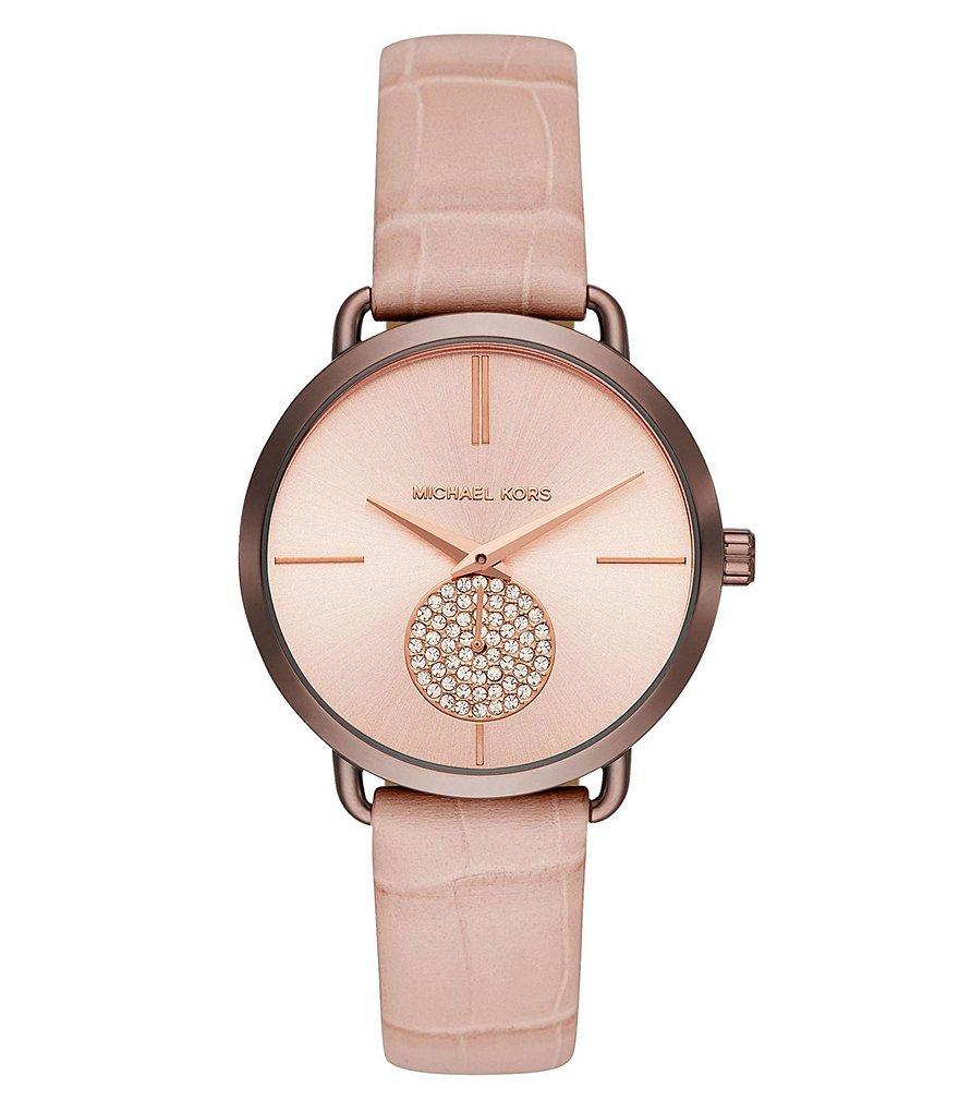 Michael Kors Ladies' Portia Sable and Croc Leather Watch