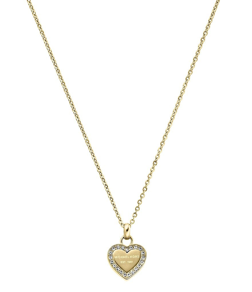 Michael Kors Logo Heart Stainless Steel Pendant Necklace