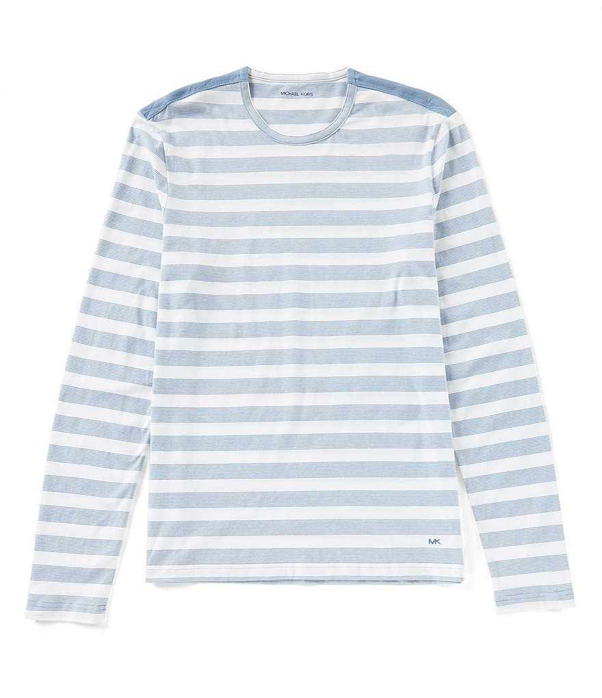 Michael Kors Long Sleeve Striped Crewneck T-Shirt