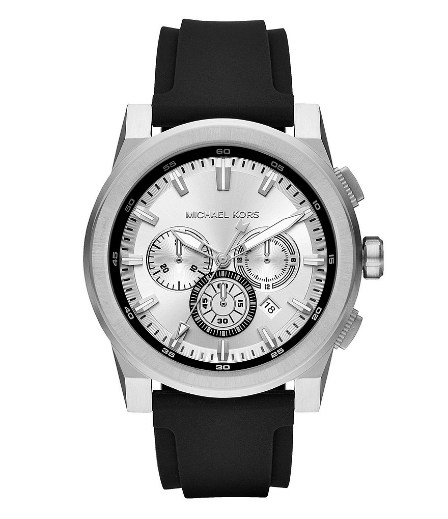 Michael Kors Men's Grayson Stainless-Steel and Black Silicone Chronograph Watch