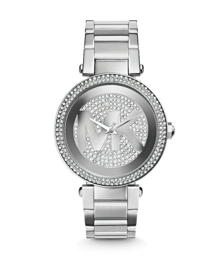 Michael Kors Mid-Size Stainless Steel Parker Analog Glitz Chronograph Bracelet Watch