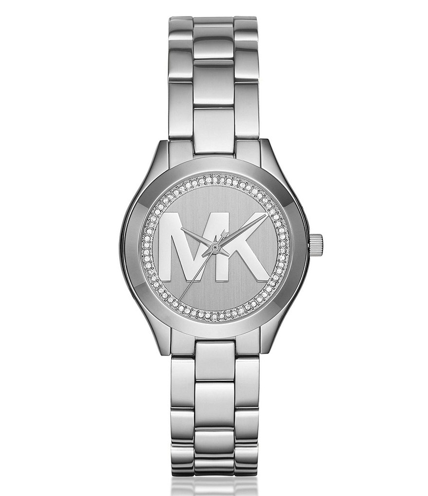 Michael Kors Mini Slim Runway Pavé Monogram Logo Analog Bracelet Watch