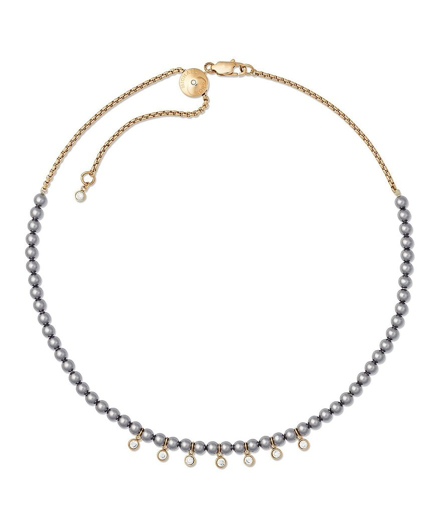 Michael Kors Modern Classic Faux-Pearl & Crystal Slider Choker Necklace