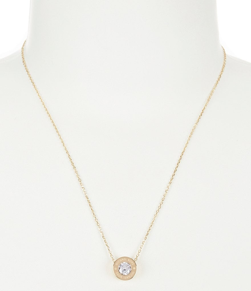 Michael Kors Pavé Logo Pendant Necklace