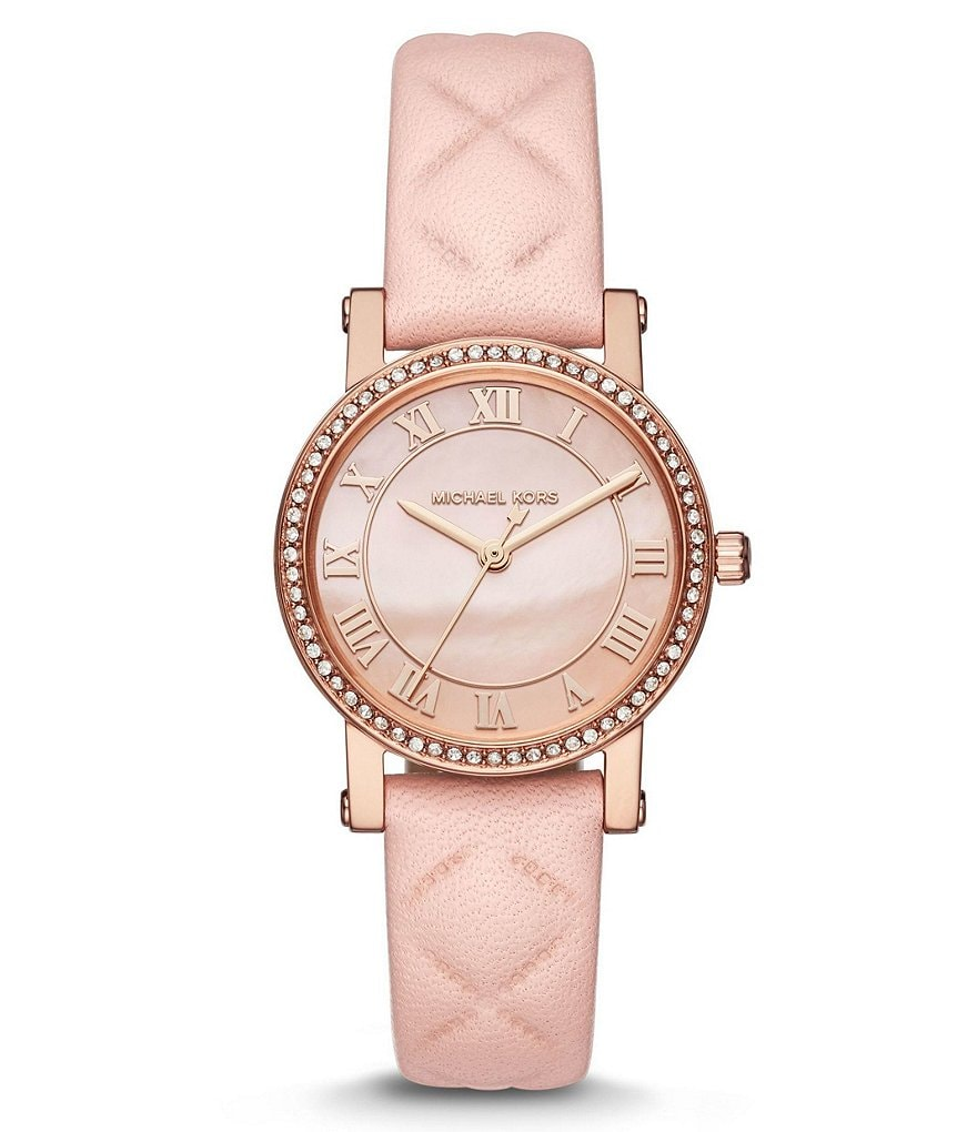 Michael Kors Petite Norie Analog Quilted Leather-Strap Watch